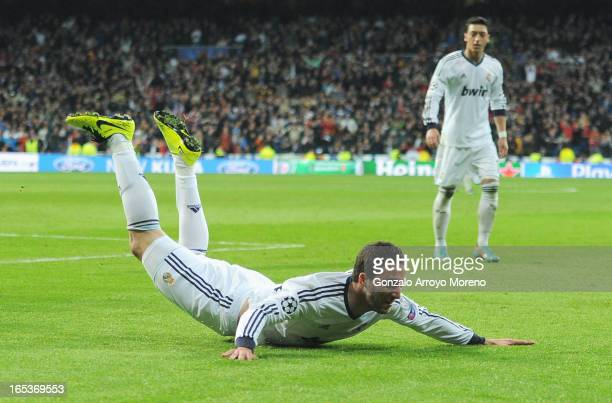 Gonzalo Higuain of Real Madrid celebrates his team's third goal during the UEFA Champions League Quarter Final first leg match between Real Madrid...