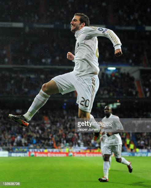 Gonzalo Higuain of Real Madrid celebrates scoring during the UEFA Champions League group D match between Real Madrid and GNK Dinamo Zagreb at Estadio...