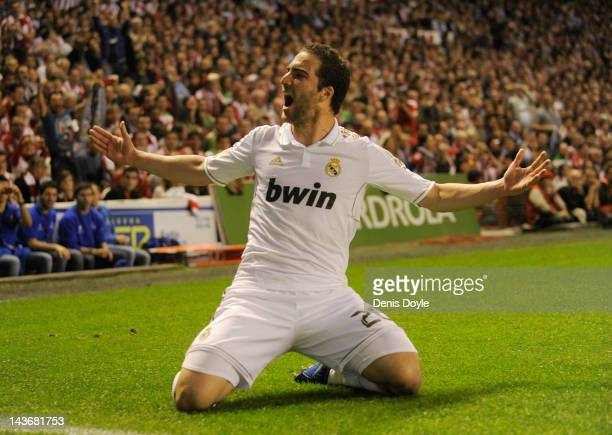 Gonzalo Higuain of Real Madrid CF celebrates after scoring Real's first goal during the La Liga match between Athletic Club and Real Madrid CF at...