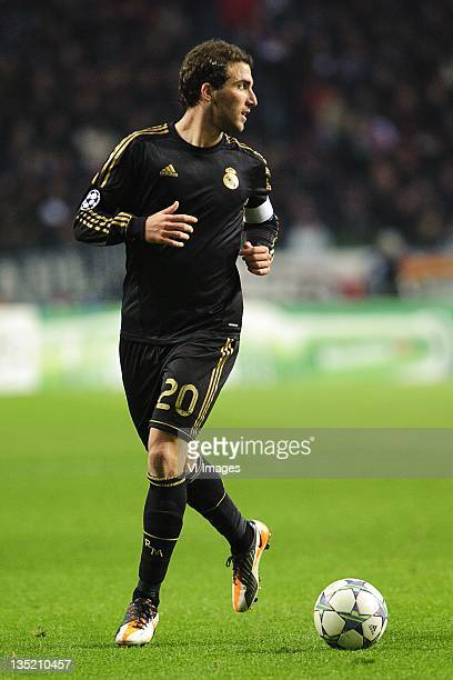 Gonzalo Higuain of Real Madrid CF during the Champions League match between Ajax Amsterdam and Real Madrid at the Amsterdam Arena on December 7 2011...
