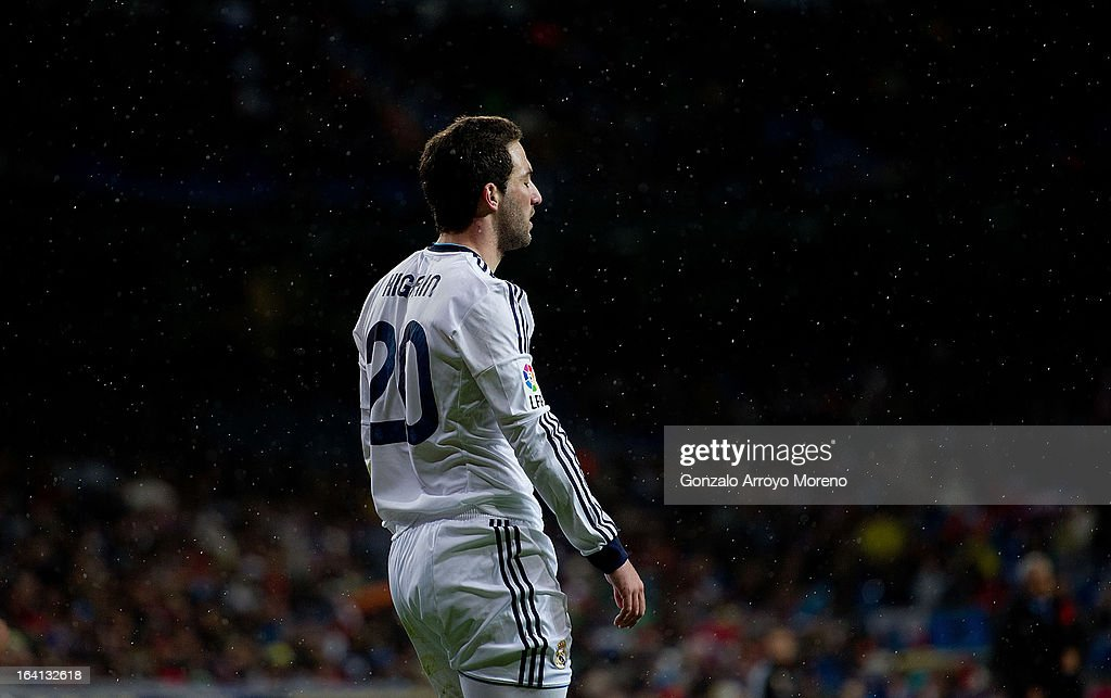 Gonzalo Higuain of Real Madrid CF feels the rain fallen during the La Liga match between Real Madrid CF and RCD Mallorca at Santiago Bernabeu Stadium on March 16, 2013 in Madrid, Spain.