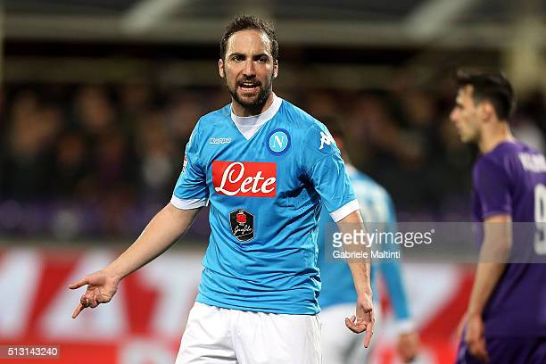 Gonzalo Higuain of SSC Napoli reacts during the Serie A match between ACF Fiorentina and SSC Napoli at Stadio Artemio Franchi on February 29 2016 in...