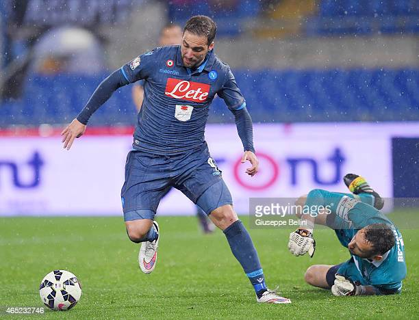 Gonzalo Higuain of SSC Napoli scores the goal 11 during the TIM Cup match between SS Lazio and SSC Napoli at Stadio Olimpico on March 4 2015 in Rome...