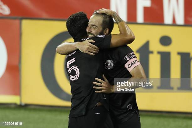 Gonzalo Higuain of the Inter Miami celebrates his goal in the 81st minute against the New York Red Bulls at Red Bull Arena on October 07, 2020 in...