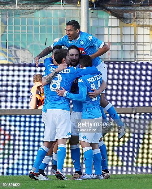 Gonzalo Higuain with his teammates of SSC Napoli celebrates after scoring the team's second goal from penalty spot during the Serie A match between...