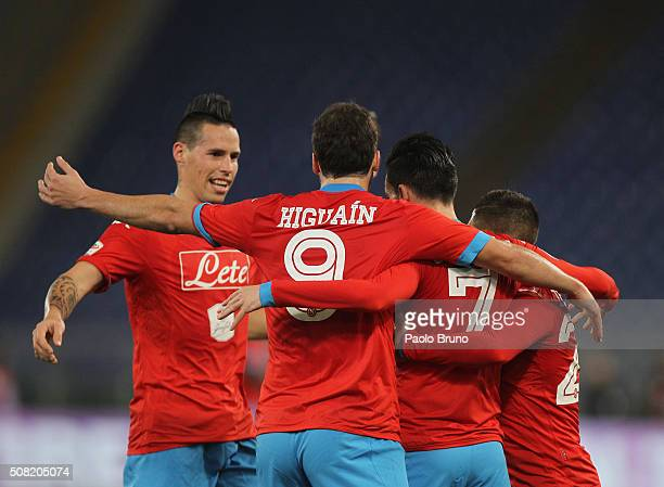 Gonzalo Higuain with his teammates of SSC Napoli celebrates after scoring the opening goal during the Serie A match between SS Lazio and SSC Napoli...
