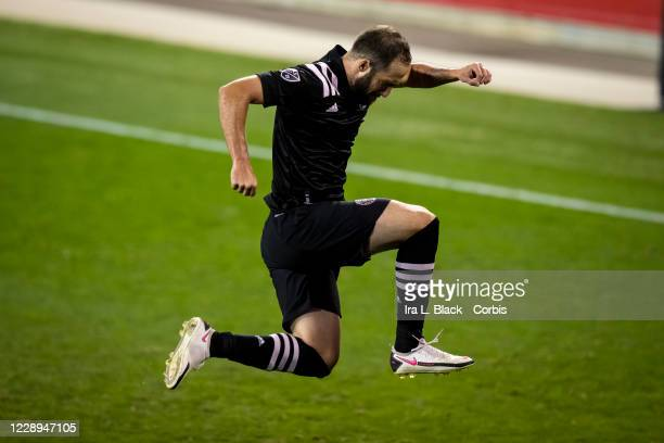 Gonzalo Higuaín of Inter Miami CF leaps in the air to celebrate his 1st MLS goal and the go ahead goal during the second half of the Major League...