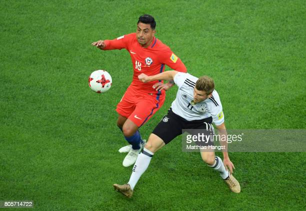 Gonzalo Jara of Chile and Timo Werner of Germany battle for possession during the FIFA Confederations Cup Russia 2017 Final between Chile and Germany...