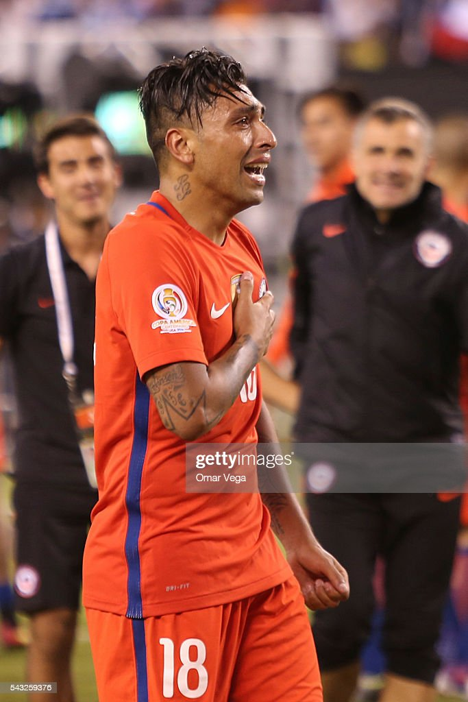 Gonzalo Jara of Chile cries after winning the championship match between Argentina and Chile at MetLife Stadium as part of Copa America Centenario US 2016 on June 26, 2016 in East Rutherford, New Jersey, US.