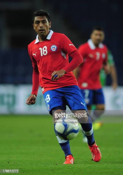 Gonzalo Jara of Chile in action during the international friendly match between Chile and Iraq at the Brondby Stadium on August 14 2013 in Brondby...