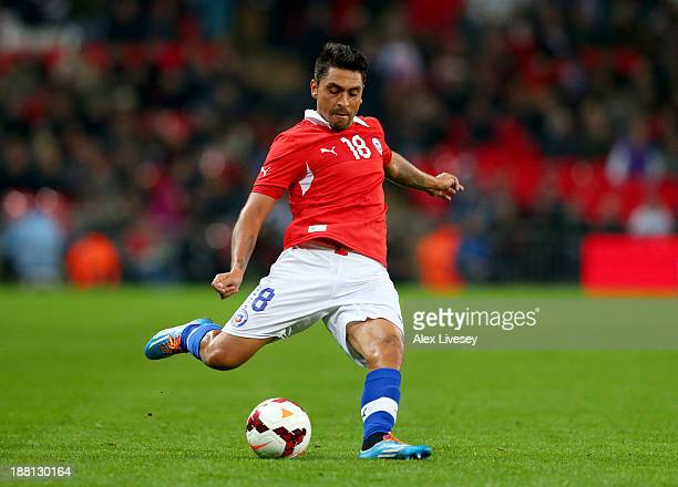 Gonzalo Jara of Chile in action during the international friendly match between England and Chile at Wembley Stadium on November 15 2013 in London...