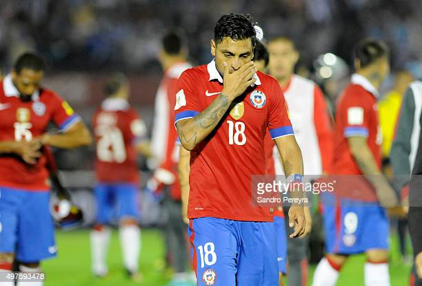 Gonzalo Jara of Chile walks off the field after a match between Uruguay and Chile as part of FIFA 2018 World Cup Qualifiers at Centenario Stadium on...