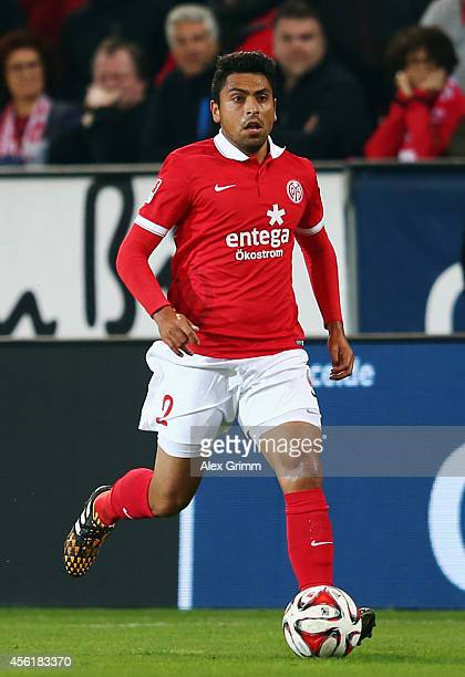 Gonzalo Jara of Mainz controles the ball during the Bundesliga match between 1 FSV Mainz 05 and 1899 Hoffenheim at Coface Arena on September 26 2014...