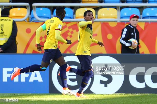 Gonzalo Jordy Plata Jimenez of Ecuador celebrates scoring a goal during the FIFA U-20 World Cup match between Ecuador and Mexico on May 29, 2019 in...