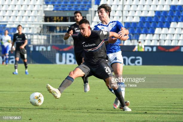 Gonzalo Maroni of UC Sampdoria competes for the ball with Sandro Tonali of UC Brescia in action during the Serie A match between Brescia Calcio and...