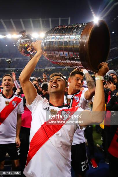 Gonzalo Martinez celebrates with the trophy following the second leg of the final match of Copa CONMEBOL Libertadores 2018 between Boca Juniors and...