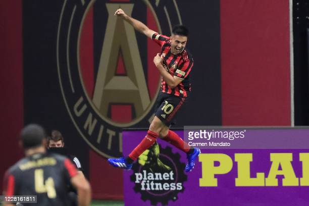 Gonzalo Martinez of Atlanta United celebrates scoring a goal during the second half of an MLS game against the Nashville SC at Mercedes-Benz Stadium...