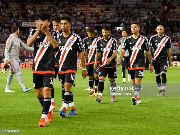 Gonzalo Martinez of River Plate and teammates leave the field after first half during a match between River and Union as part of Superliga 2017/18 at...