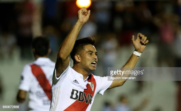 Gonzalo Martinez of River Plate celebrates after Adrian Balboa of Patronato scores an own goal during a match between Patronato and River Plate as...