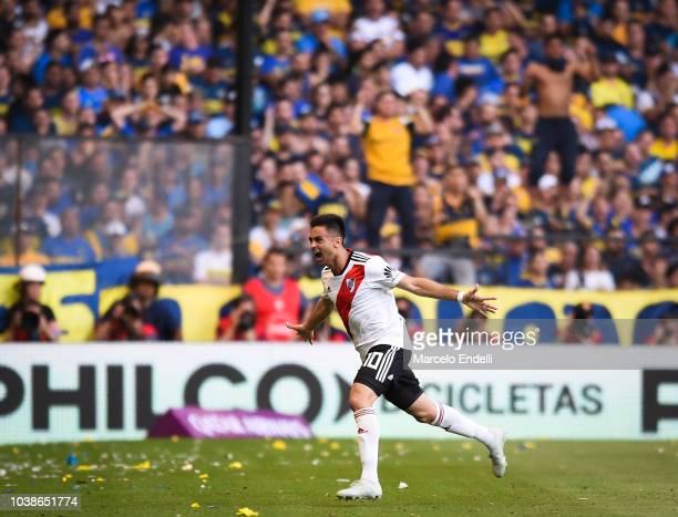 Gonzalo Martinez of River Plate celebrates after scoring the first goal of his team during a match between Boca Juniors and River Plate as part of...