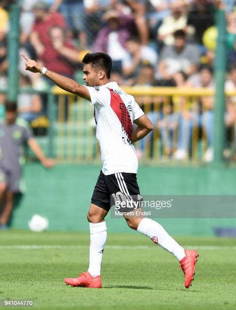 Gonzalo Martinez of River Plate celebrates after scoring the first goal of his team during a match between Defensa y Justicia and River Plate as part...
