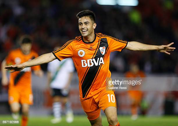 Gonzalo Martinez of River Plate celebrates after scoring the fourth goal of his team during a match between River Plate and Banfield as part of first...