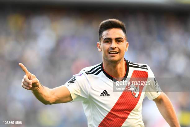 Gonzalo Martinez of River Plate celebrates after scoring the opening goal during a match between Boca Juniors and River Plate as part of Superliga...