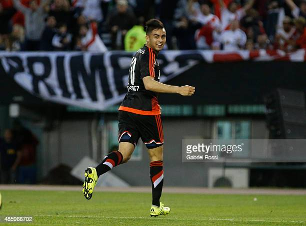 Gonzalo Martinez of River Plate celebrates after scoring the opening goal during a match between River Plate and Huracan as part of 22nd round of...