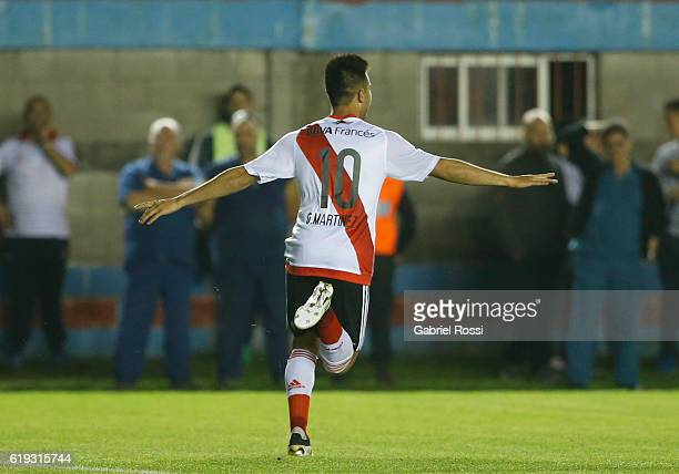 Gonzalo Martinez of River Plate celebrates after scoring the second goal of his team during a match between River Plate and Arsenal FC as part of...