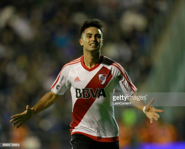 Gonzalo Martinez of River Plate celebrates after scoring the second goal of his team during a match between Gimnasia y Esgrima La Plata and River...