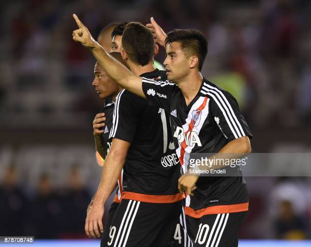 Gonzalo Martinez of River Plate celebrates after scoring the second goal of his team during a match between River and Union as part of Superliga...