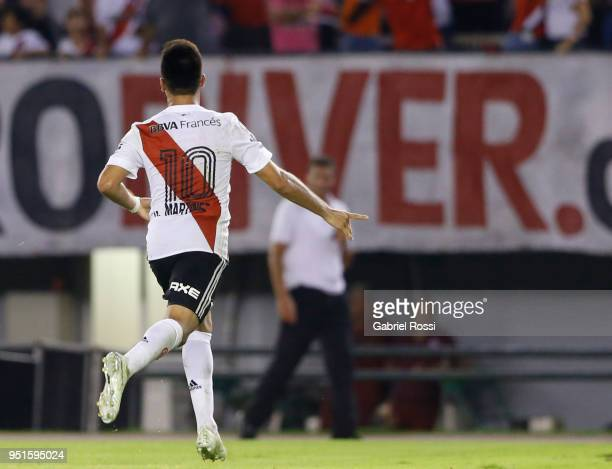 Gonzalo Martinez of River Plate celebrates after scoring the second goal of his team during a match between River Plate and Emelec as part of Copa...