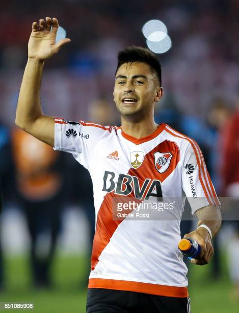 Gonzalo Martinez of River Plate celebrates after wining the second leg match between River Plate and Wilstermann as part of the quarter finals of...