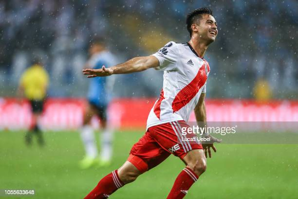 Gonzalo Martinez of River Plate celebrates after winning the match against Gremio as part of Copa Conmebol Libertadores 2018 at Arena do Gremio on...