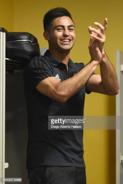Gonzalo Martinez of River Plate celebrates in the visitor's dressing room after a match between Boca Juniors and River Plate as part of Superliga...