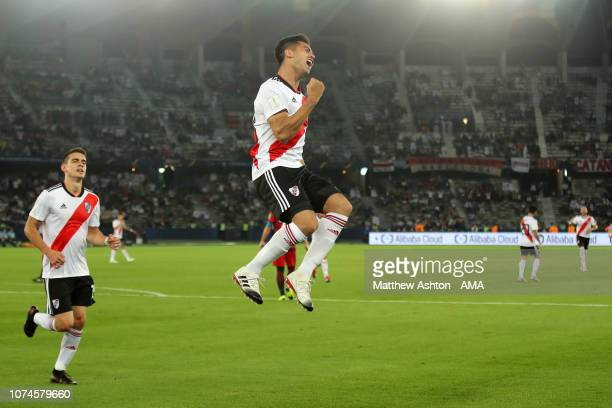 Gonzalo Martinez of River Plate celebrates scoring a goal to make it 02 during the FIFA Club World Cup UAE third place match between Kashima Antlers...