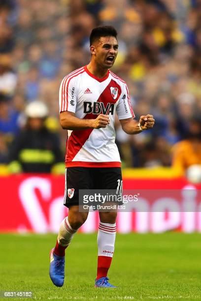 Gonzalo Martinez of River Plate celebrates scoring the opening goal during the Torneo Primera Division match between Boca Juniors and River Plate at...