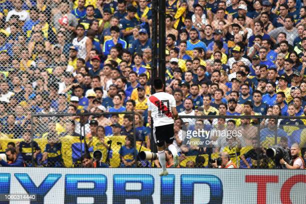 Gonzalo Martinez of River Plate celebrates the second goal of his team scored in his own goal by Carlos Izquierdoz of Boca Juniors during the first...