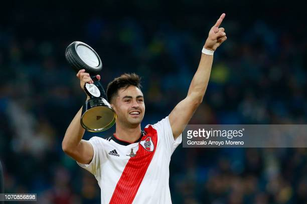 Gonzalo Martinez of River Plate celebrates with his MVP by Bridgestone award following the second leg of the final match of Copa CONMEBOL...