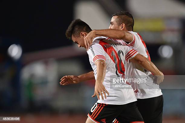 Gonzalo Martinez of River Plate celebrates with his teammate after scoring the third goal of his team during a match between Gamba Osaka and River...