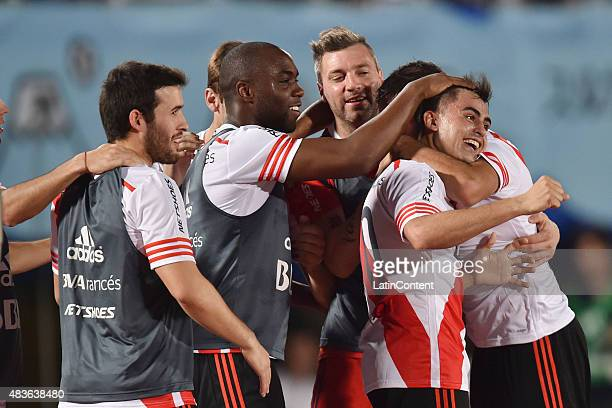 Gonzalo Martinez of River Plate celebrates with his teammates after scoring the third goal of his team during a match between Gamba Osaka and River...
