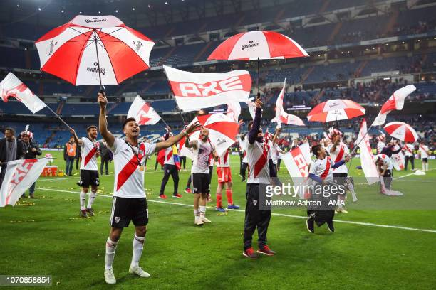 Gonzalo Martinez of River Plate celebrates with his teammates at the end of the second leg of the final match of Copa CONMEBOL Libertadores 2018...