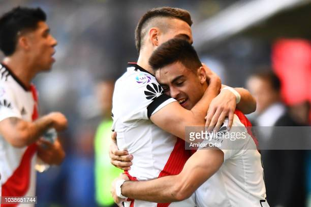 Gonzalo Martinez of River Plate celebrates with teammate Rafael Santos Borré after scoring the opening goal during a match between Boca Juniors and...