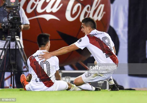 Gonzalo Martinez of River Plate celebrates with teammate Rafael Santos Borre after scoring the first goal of his team during a match between River...