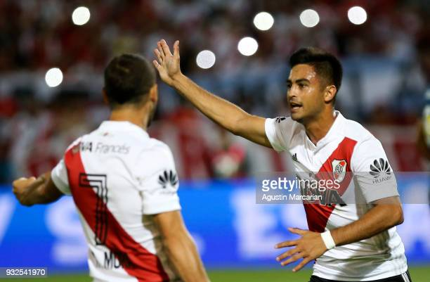 Gonzalo Martinez of River Plate celebrates with teammate Rodrigo Mora after scoring the first goal of his team during the Supercopa Argentina 2018...