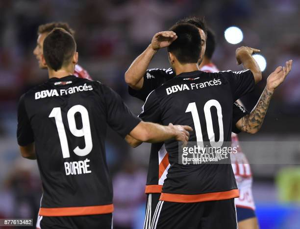 Gonzalo Martinez of River Plate celebrates with teammates after scoring the second goal of his team during a match between River and Union as part of...