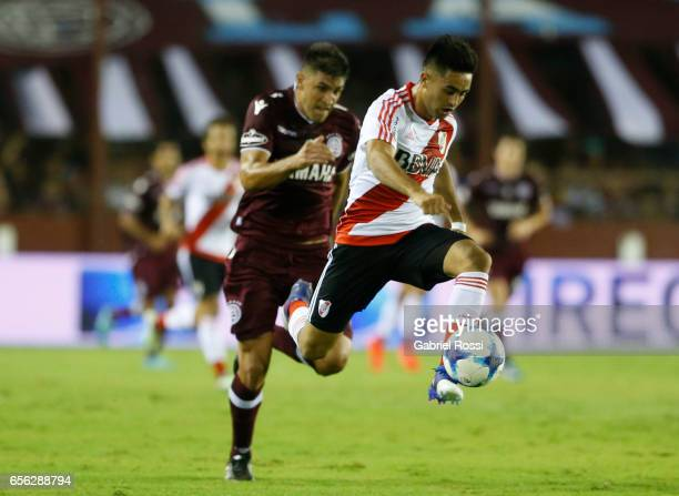 Gonzalo Martinez of River Plate controls the ball during a match between Lanus and River Plate as part of Torneo Primera Division 2016/17 at Ciudad...