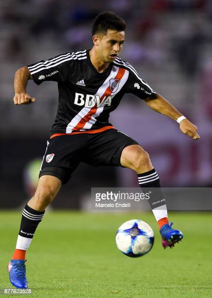 Gonzalo Martinez of River Plate controls the ball during a match between River and Union as part of Superliga 2017/18 at Monumental Stadium on...