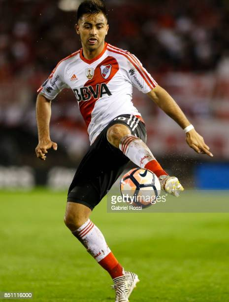 Gonzalo Martinez of River Plate controls the ball during a second leg match between River Plate and Wilstermann as part of the quarter finals of Copa...