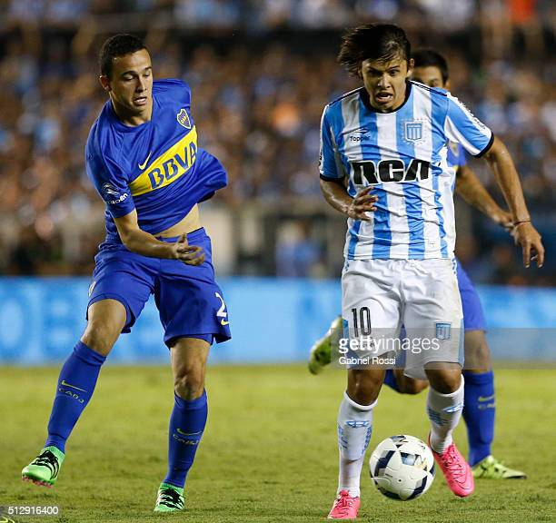 Gonzalo Martinez of River Plate drives the ball during a fifth round match between Racing Club and Boca Juniors as part of Torneo Transicion 2016 at...